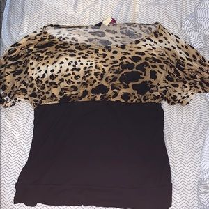 Annabelle Tops - Cheetah print &  black top